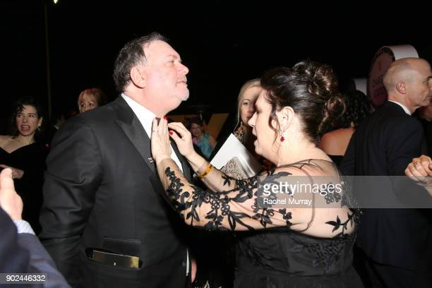 Producer Bruce Miller and Ann Dowd attend Hulu's 2018 Golden Globes After Party at The Beverly Hilton Hotel on January 7 2018 in Beverly Hills...