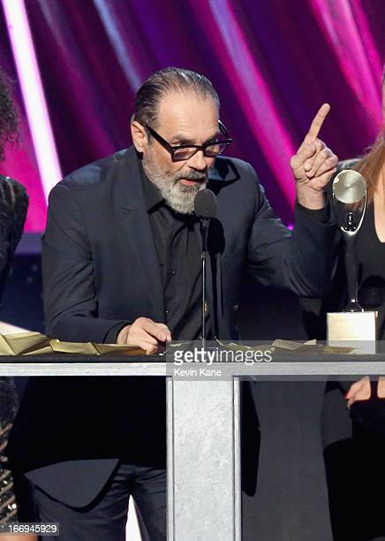 Producer Bruce Sudano husband of the late Donna Summer inductee speaks onstage during the 28th Annual Rock and Roll Hall of Fame Induction Ceremony...