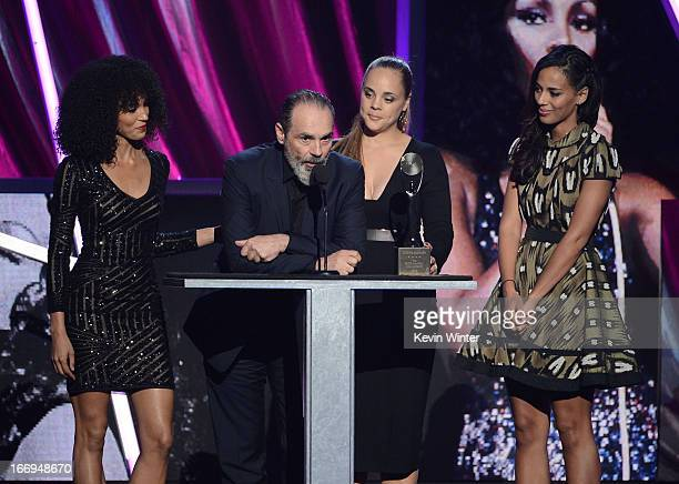 Producer Bruce Sudano husband of the late Donna Summer inductee with their daughters Amanda Sudano Mimi Sommer and Brooklyn Sudano speaks on stage at...