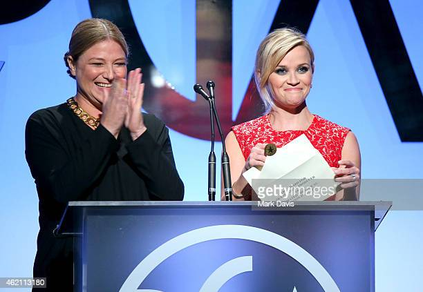Producer Bruna Papandrea and actress/producer Reese Witherspoon speak onstage at the 26th Annual Producers Guild Of America Awards at the Hyatt...