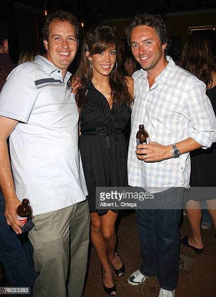 Producer Bryan Brucks actress Lindsey Kelley and producer Judd Payne attend the wrap party for the motion picture comedy Deep in the Valley at...