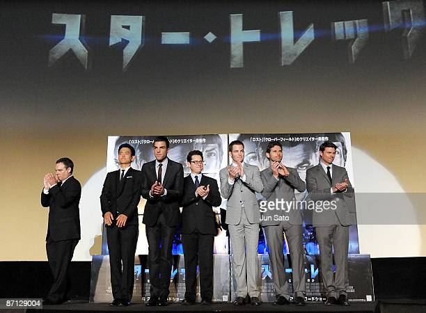 Producer Bryan Burk actors John Cho Zachary Quinto director JJ Abrams actors Chris Pine Eric Bana and Karl Urban attend the Star Trek Japan Premiere...