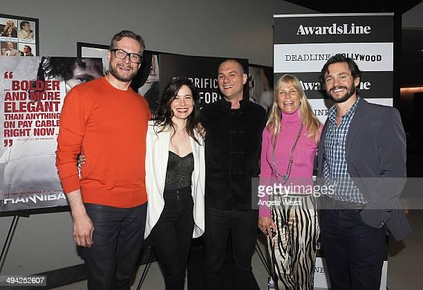 Producer Bryan Fuller actress Caroline Dhavernas moderator Dominic Patten producer Martha De Laurentiis and actor Hugh Dancy attend the...