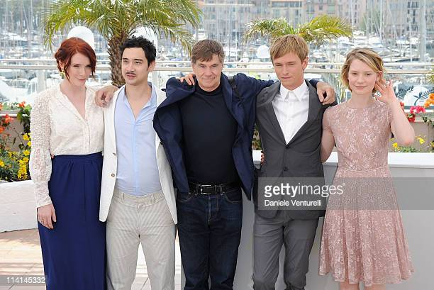 Producer Bryce Dallas Howard actor Jason Lew director Gus van Sant actor Henry Hopper and actress Mia Wasikowska attends the Restless Photocall...