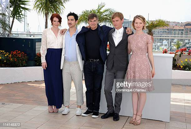 Producer Bryce Dallas Howard screenwriter Jason Lew director Gus Van Sant actor Henry Hopper and actress Mia Wasikowska attend the Restless Photocall...