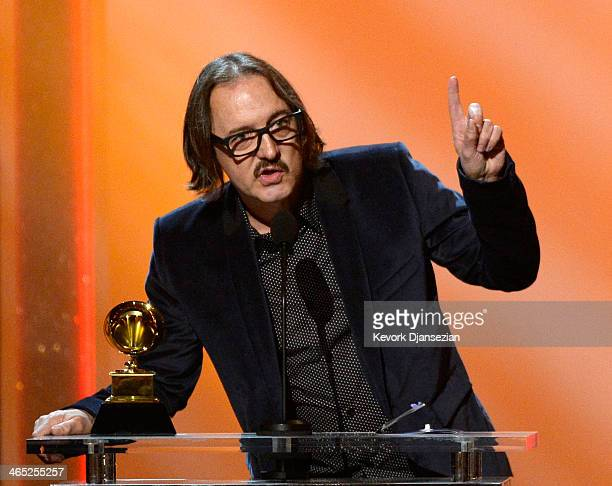 Producer Butch Vig accepts the Best Compilation Soundtrack for Visual Media for 'Sound City Real to Reel' onstage during the 56th GRAMMY Awards...