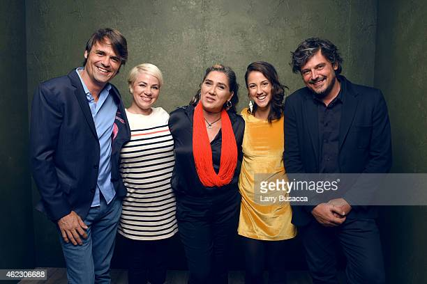 Producer Caio Gullane actress Karine Teles filmmaker Anna Muylaert actress Camila Mardila and producer Fabiano Gullane of 'The Second Mother' pose...