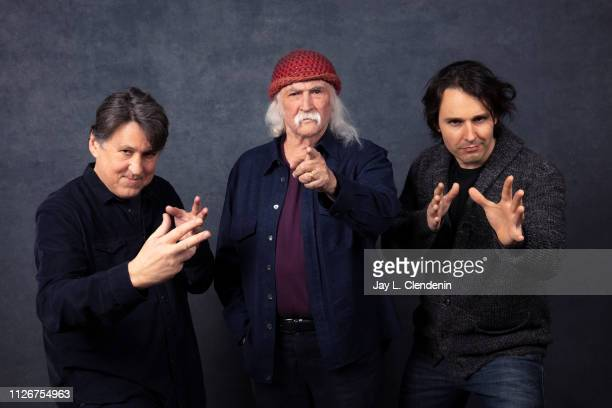 Producer Cameron Crowe musician David Crosby and director AJ Eaton from 'David Crosby Remember My Name' are photographed for Los Angeles Times on...