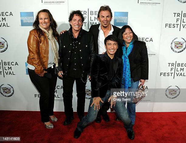 Producer Capella Fahoome Brogden musicians Neal Schon Jonathan Cain and Arnel Pineda of Journey and director Ramona S Diaz attend the 'Don't Stop...