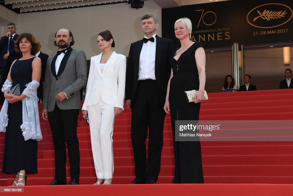 Producer Carine Leblanc, actor Valeriu Andriuta, actress Vasilina Makovtseva Writer, director Sergei Loznitsa, and Producer Marianne Slot attends 'A Gentle Creature (Krotkaya)' premiere during the 70th annual Cannes Film Festival at Palais des Festivals on May 25, 2017 in Cannes, France.