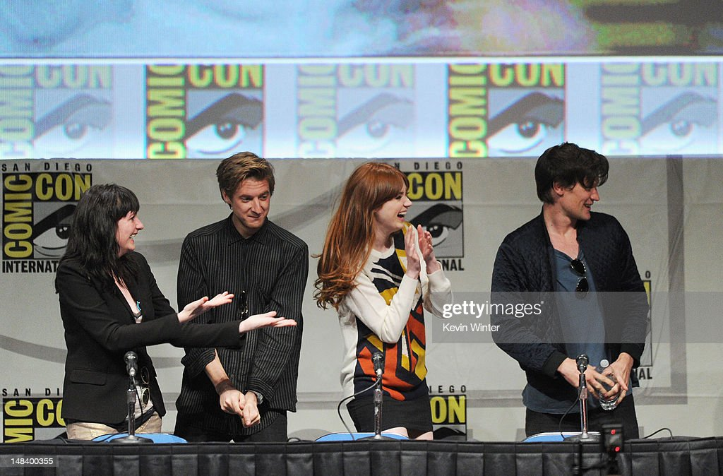 Producer Caroline Skinner, actors Arthur Darvill, Karen Gillan and Matt Smith speak at BBC America's 'Doctor Who' Panel during Comic-Con International 2012 at San Diego Convention Center on July 15, 2012 in San Diego, California.