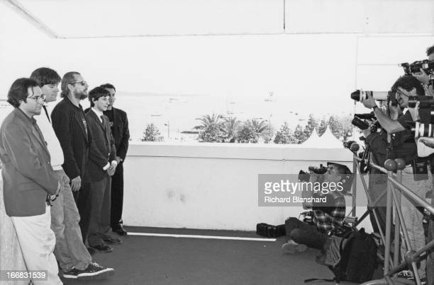 Producer Cary Woods director Larry Clark and writer actor and director Harmony Korine attend a photocall to promote their film 'Kids' at the Palais...