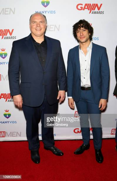 Producer Casey Roman and adult film actor Alex Roman attend the 2019 GayVN Awards show at The Joint inside the Hard Rock Hotel Casino on January 21...
