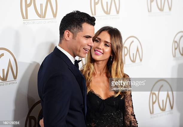 Producer Cash Warren and actress Jessica Alba arrive at the 24th Annual Producers Guild Awards held at The Beverly Hilton Hotel on January 26, 2013...