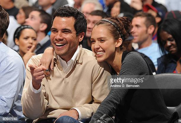 Producer Cash Warren and actress Jessica Alba attend the game between the Los Angeles Clippers and the Phoenix Suns at Staples Center on October 28...