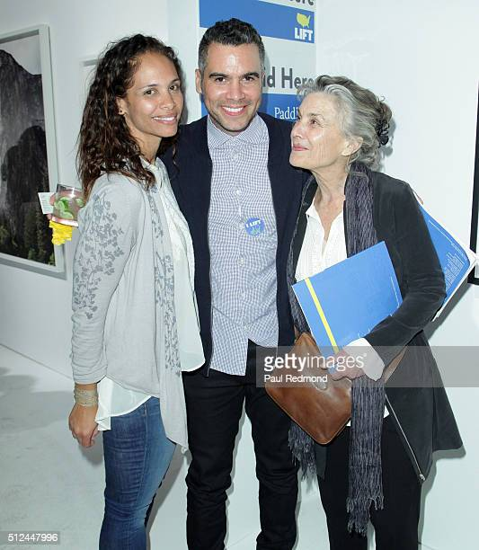 Producer Cash Warren and sister Kekoa Jones and mother Sue Narramore attend the LIFTArt 2016 2nd Annual Art Auction at Quixote Studios on February 25...