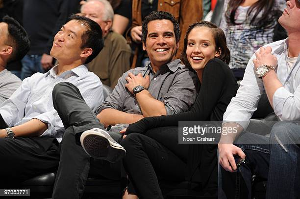 Producer Cash Warren and wife Jessica Alba attend a game between the Utah Jazz and the Los Angeles Clippers at Staples Center on March 1 2010 in Los...