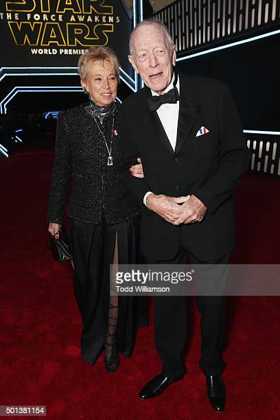 Producer Catherine Brelet and actor Max von Sydow attend the Premiere of Walt Disney Pictures and Lucasfilm's Star Wars The Force Awakens on December...
