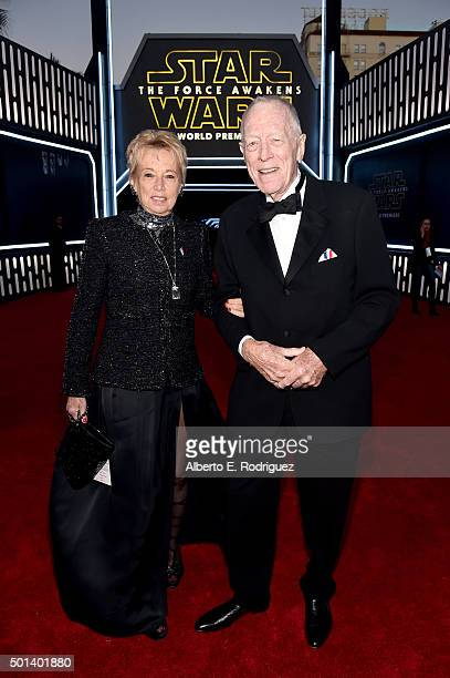 "Producer Catherine Brelet and actor Max von Sydow attend the World Premiere of ""Star Wars The Force Awakens"" at the Dolby El Capitan and TCL Theatres..."