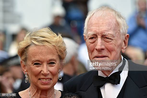 Producer Catherine Brelet and actor Max von Sydow pose on May 14 2016 as they arrive for the screening of the film The BFG at the 69th Cannes Film...