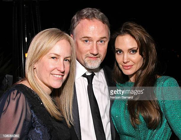 Producer Cean Chaffin director David Fincher and actress Angelina Jolie attend the Sony Pictures Classic 68th Annual Golden Globe Awards Party held...