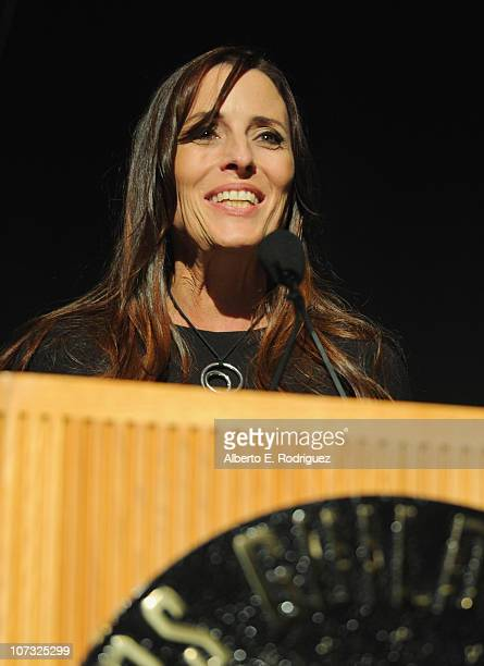 Producer Cecilia Peck speaks at the International Documentary Association's 26th annual awards ceremony at the Directors Guild Of America on December...