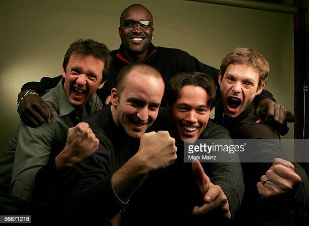 Producer Chad Eikhoff actors Cory Rouse Poncho Hodges director Gregg Bishop and actor Nathan Mobley of the film The Other Side poses for a portrait...