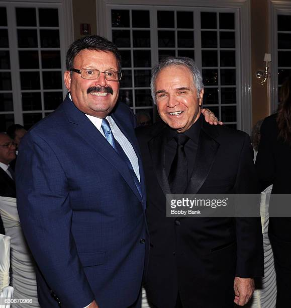 Producer Charles Calello and John Alati attend the Charles Calello Orchestra The Hit Man at Stoney Hill Inn on December 29 2016 in Hackensack New...