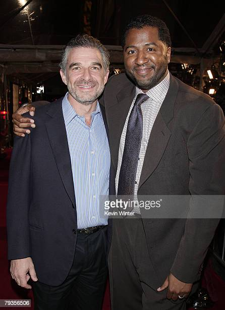 Producer Charles Castaldi and writer/director Malcolm D Lee pose at the premiere of Universal's Welcome Home Roscoe Jenkins at the Chinese Theater on...