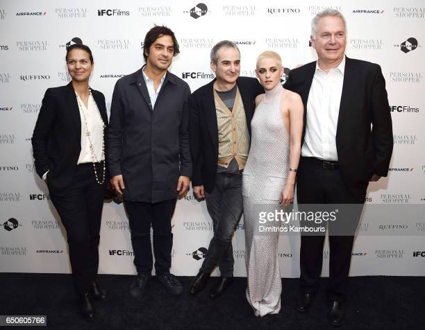 Producer Charles Gillibert and guests pose with Director Olivier Assayas and actress Kristen Stewart at the 'Personal Shopper' premiere at Metrograph...