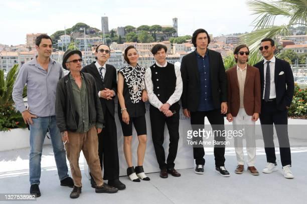Producer Charles Gillibert, director Leos Carax, musician Ron Mael, actress Marion Cotillard, musician Russell Mael, actors Adam Driver, Simon...