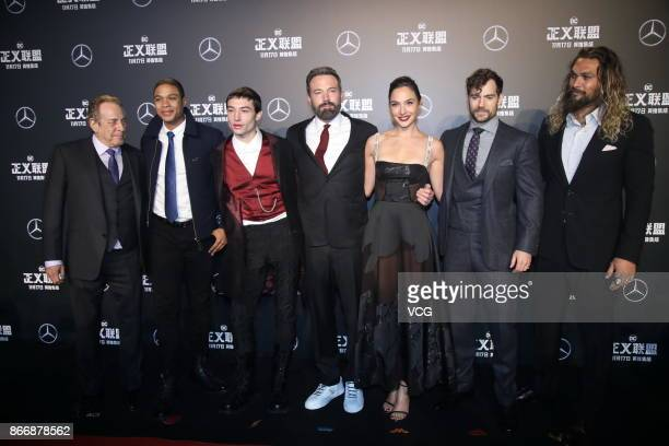 Producer Charles Roven actors Ray Fisher Ezra Miller Ben Affleck Gal Gadot Henry Cavill and Jason Momoa attend 'Justice League' premiere at 798 Art...
