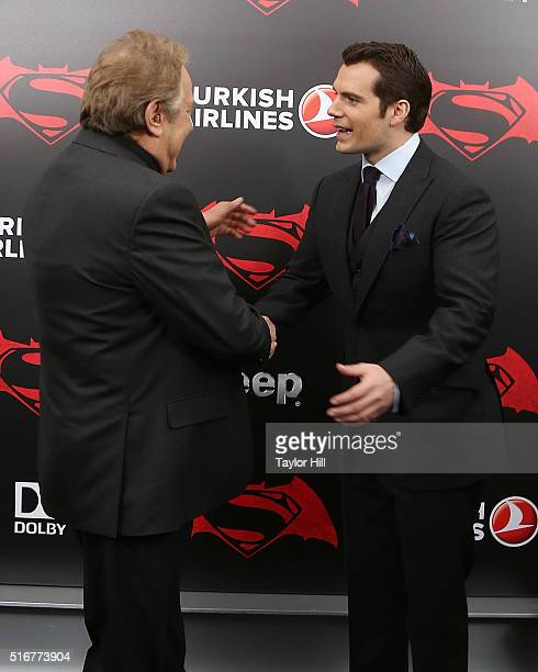 Producer Charles Roven and Henry Cavill attend the Batman v Superman Dawn of Justice premiere at Radio City Music Hall on March 20 2016 in New York...