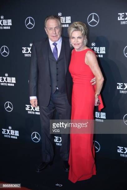 Producer Charles Roven and Stephanie Haymes Roven attend 'Justice League' premiere at 798 Art Zone on October 26 2017 in Beijing China