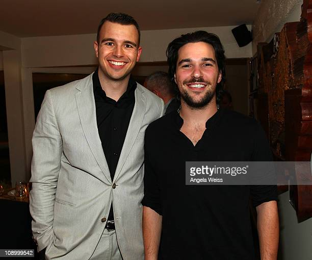 Producer Charlie Ebersol and Jeff Rosenthal of Summit Series attend the Friends N Family Dinner at The Jack Warner Estate on February 10 2011 in Los...