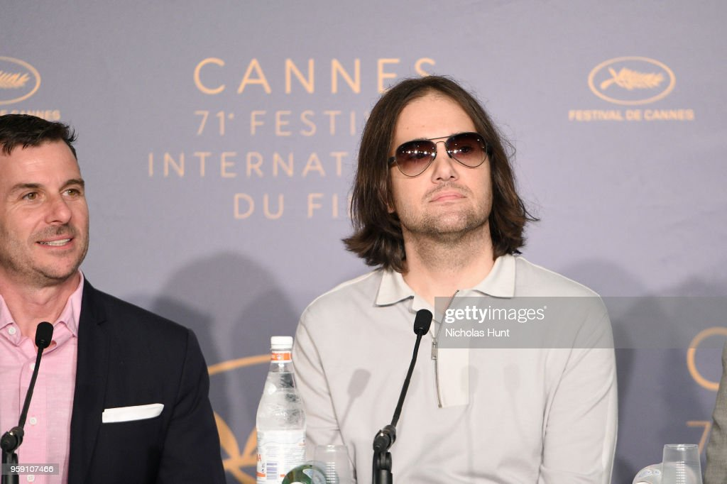 Producer Chris Bender (L) and director David Robert Mitchell attends 'Under The Silver Lake' Press Conference during the 71st annual Cannes Film Festival at Palais des Festivals on May 16, 2018 in Cannes, France.