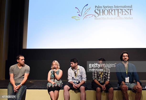 Producer Chris Boyd actress Lauren Potter directors Joshua Tate Dima Otvertchenko and Ilker Catak and programming assistant at the Palm Springs...