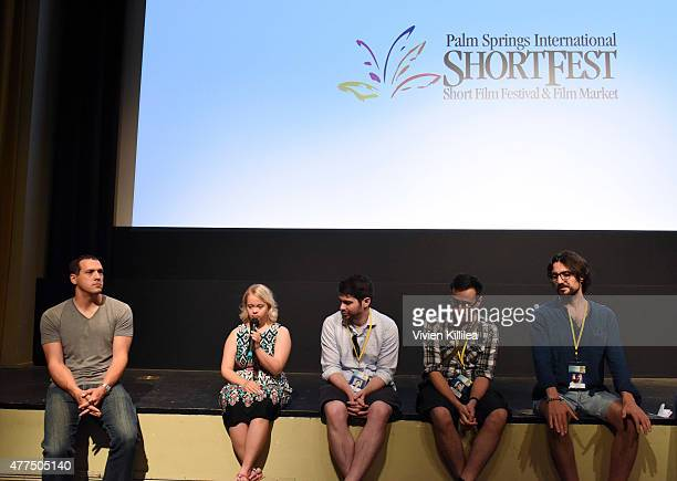 Producer Chris Boyd actress Lauren Potter directors Joshua Tate Dima Otvertchenko and Ilker Catak do a QA at the 2015 Palm Springs International...