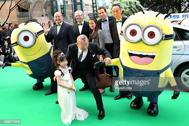Producer Chris Meledandri Universal Pictures International executive vice president Duncan Clark TohoTowa Co Ltd president Hiroyasu Matsuoka actress...