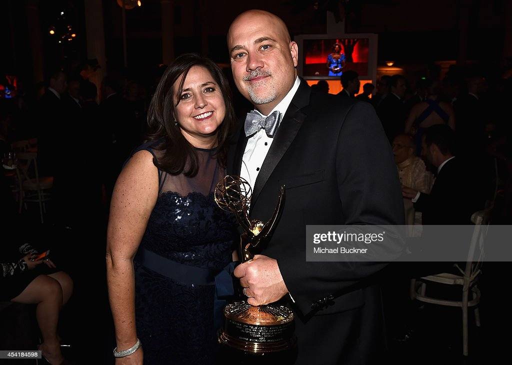 Producer Chris Smirnoff (R) and guest attend the FOX, 20th Century FOX Television, FX Networks and National Geographic Channel's 2014 Emmy Award Nominee Celebration at Vibiana on August 25, 2014 in Los Angeles, California.