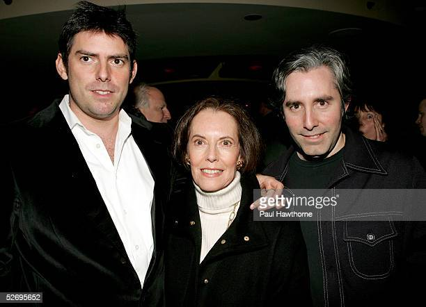 Producer Chris Weitz and playwright Paul Weitz pose with their mother actress Susan Kohner as they attend the opening of Privilege after party at...
