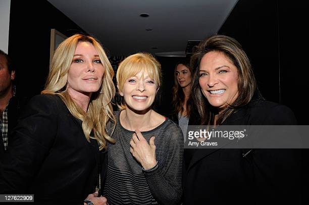 Producer Christine Forsyth Peters actress Frances Fisher and Adela Gregory attend an exhibition by painter Janet Roberts at W Hollywood on April 21...