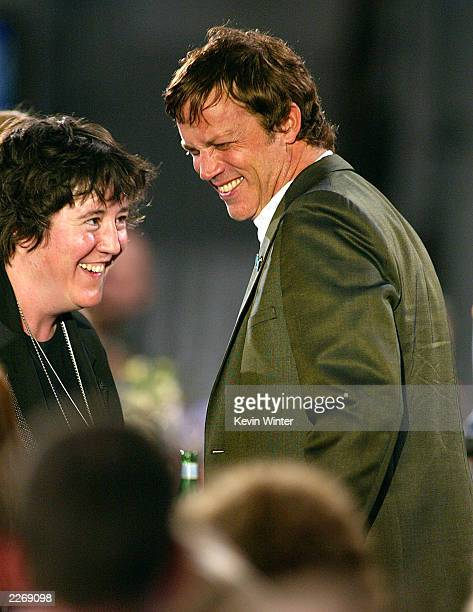 Producer Christine Vachon and director Todd Haynes smile during the 2003 IFP Independent Spirit Awards on March 22 2003 in Santa Monica California