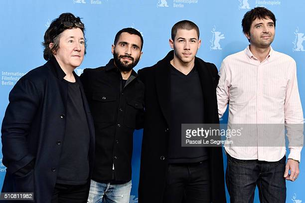 Producer Christine VachonProducer David HinojosaActor Nick Jonas and Director Andrew Neel attend the 'Goat' photo call during the 66th Berlinale...