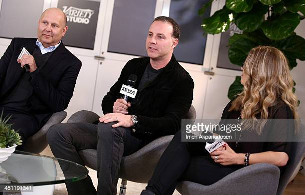 Producer Christopher Meledandri and directors Kirk DeMicco and Jennifer Lee attend Variety Awards Studio Day 2 at the Leica Gallery and Store on...