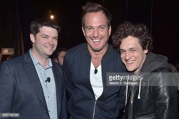 Producer Christopher Miller actor Will Arnett and producer Phil Lord of 'The Lego Batman Movie' attend CinemaCon 2016 Warner Bros Pictures Invites...