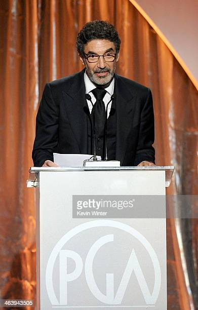 Producer Chuck Lorre accepts the Norman Lear Achievement Award in Television onstage during the 25th annual Producers Guild of America Awards at The...