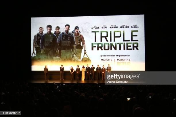 Producer Chuck Roven Director Cowriter J C Chandor and Cast members Maddy Wary Juan Castillo Adria Arjona Garrett Hedlund Pedro Pascal Charlie Hunnam...