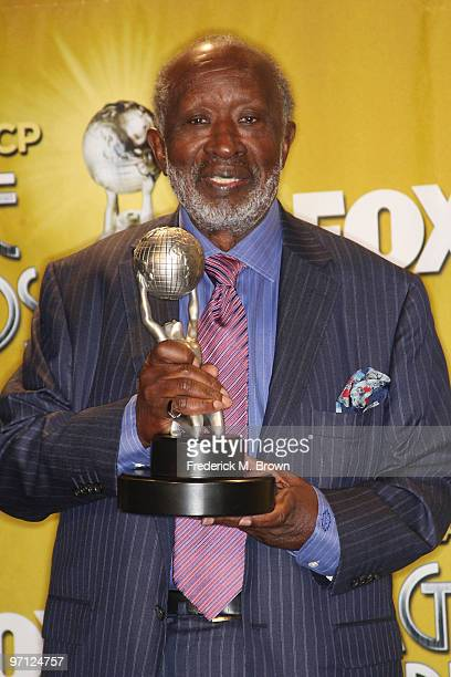 Producer Clarence Avant winner NAACP Image Hall Of Fame Award poses in the press room during the 41st NAACP Image awards held at The Shrine...