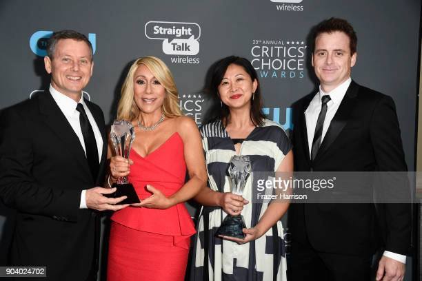 Producer Clay Newbill TV personality Lori Greiner and producers Yun Lingner and Jon Weinbach recipients of best Competition Series for 'Shark Tank'...